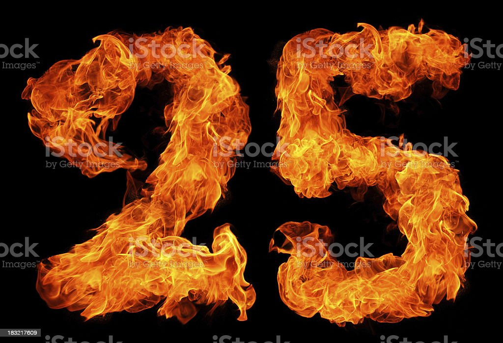 Burning 25 stock photo