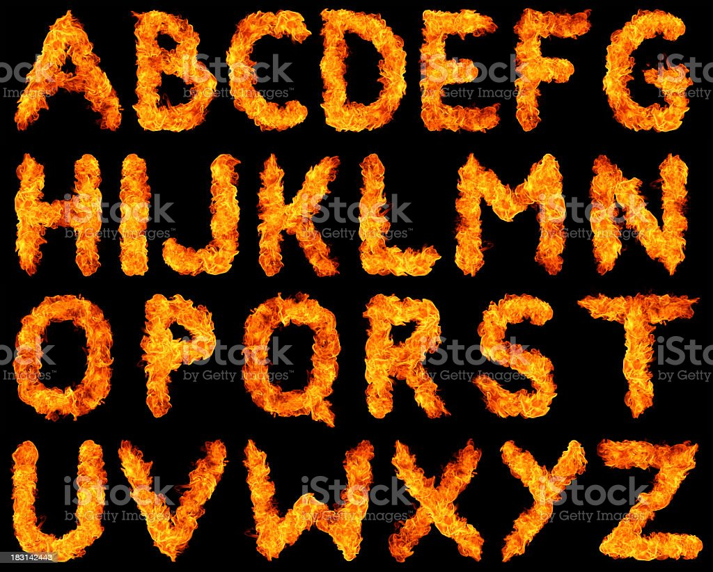 Burning alphabet XXXL stock photo
