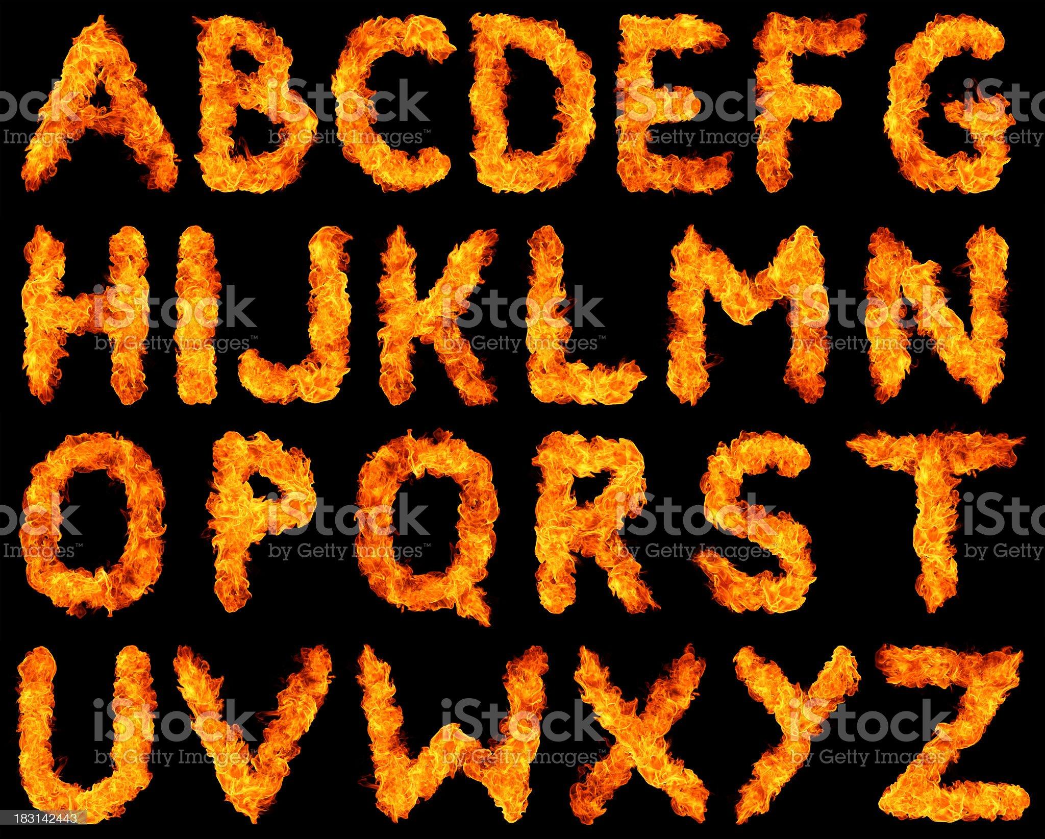 Burning alphabet XXXL royalty-free stock photo