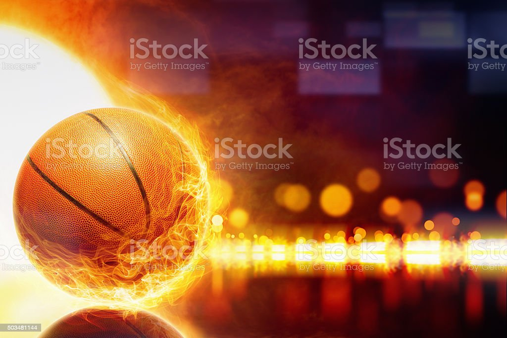 Burning basketball stock photo
