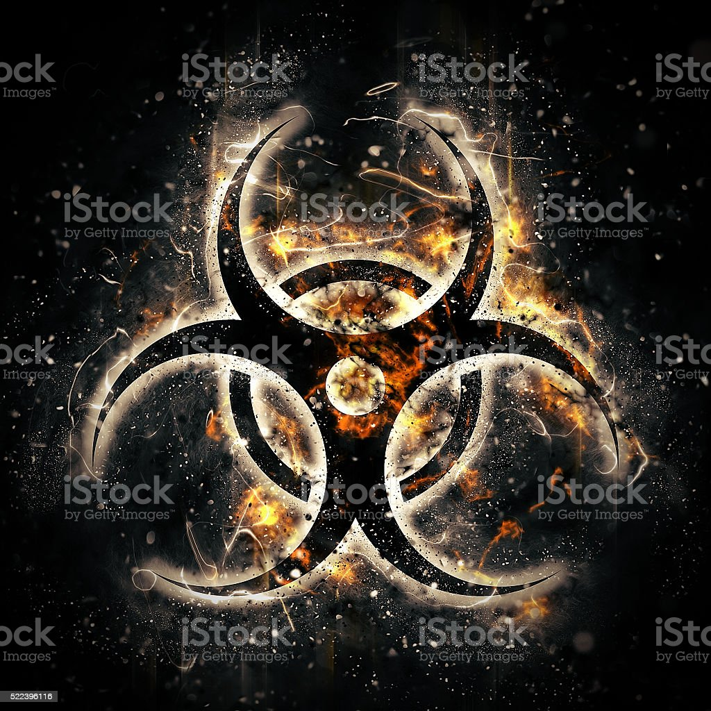 burning biohazard sign stock photo