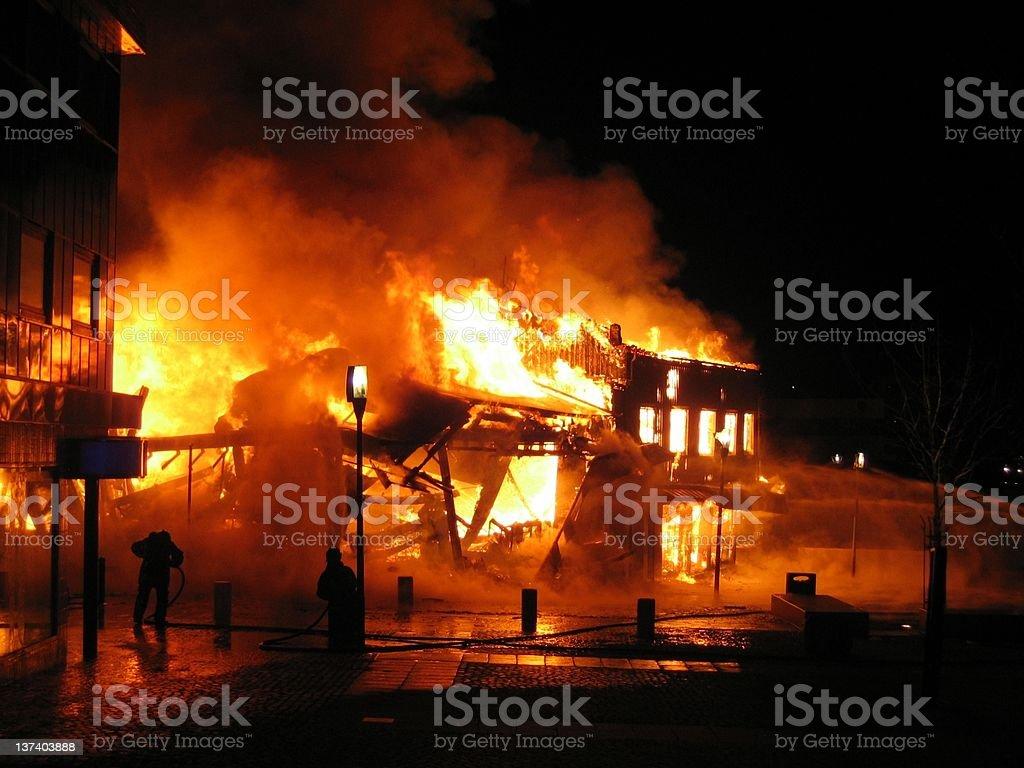 Burning building stock photo