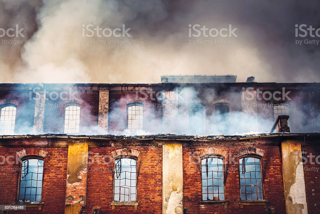Burning Building stock photo