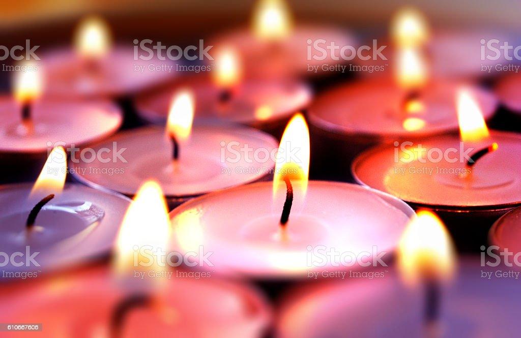 Burning candles background stock photo