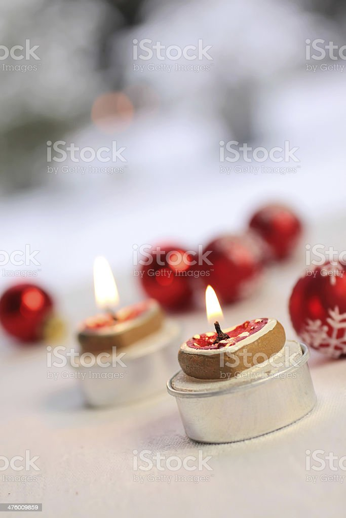 Burning candles in heart shape royalty-free stock photo