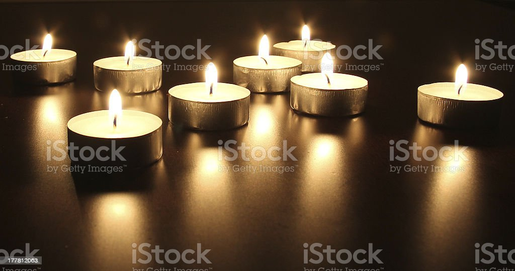 Burning candles. Selective focus royalty-free stock photo