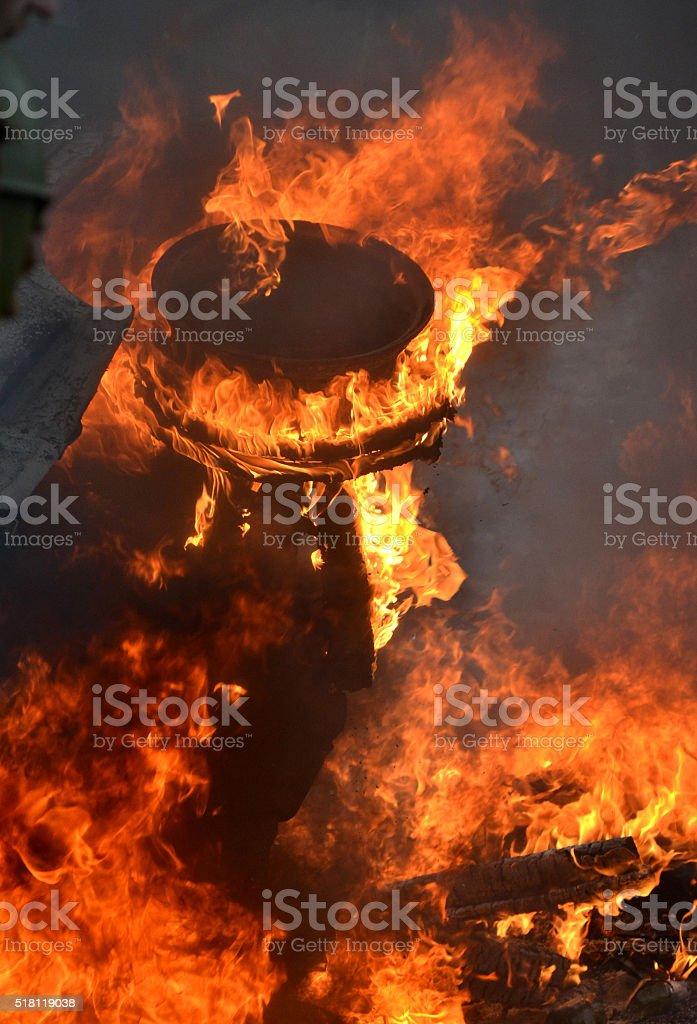 burning car closeup stock photo