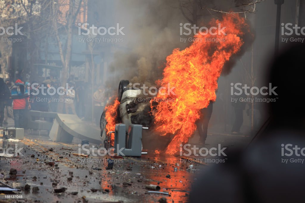 Burning Car royalty-free stock photo