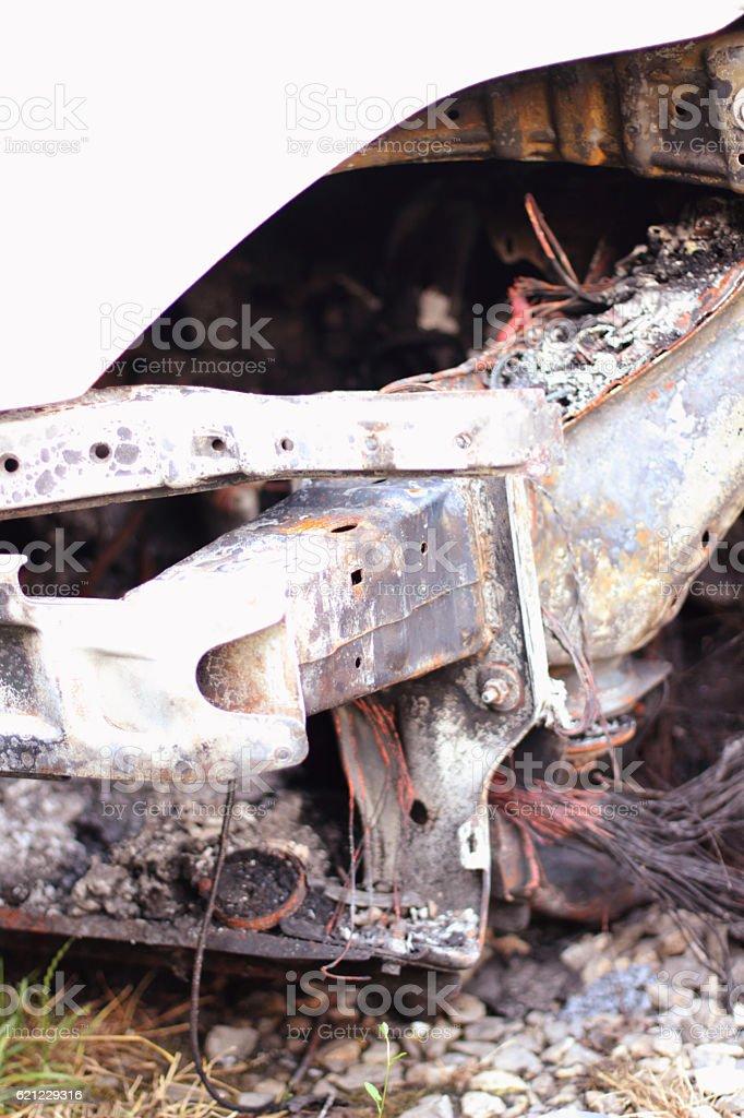 Burning cars stock photo
