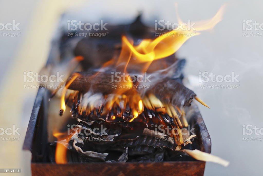 Burning charcoal royalty-free stock photo