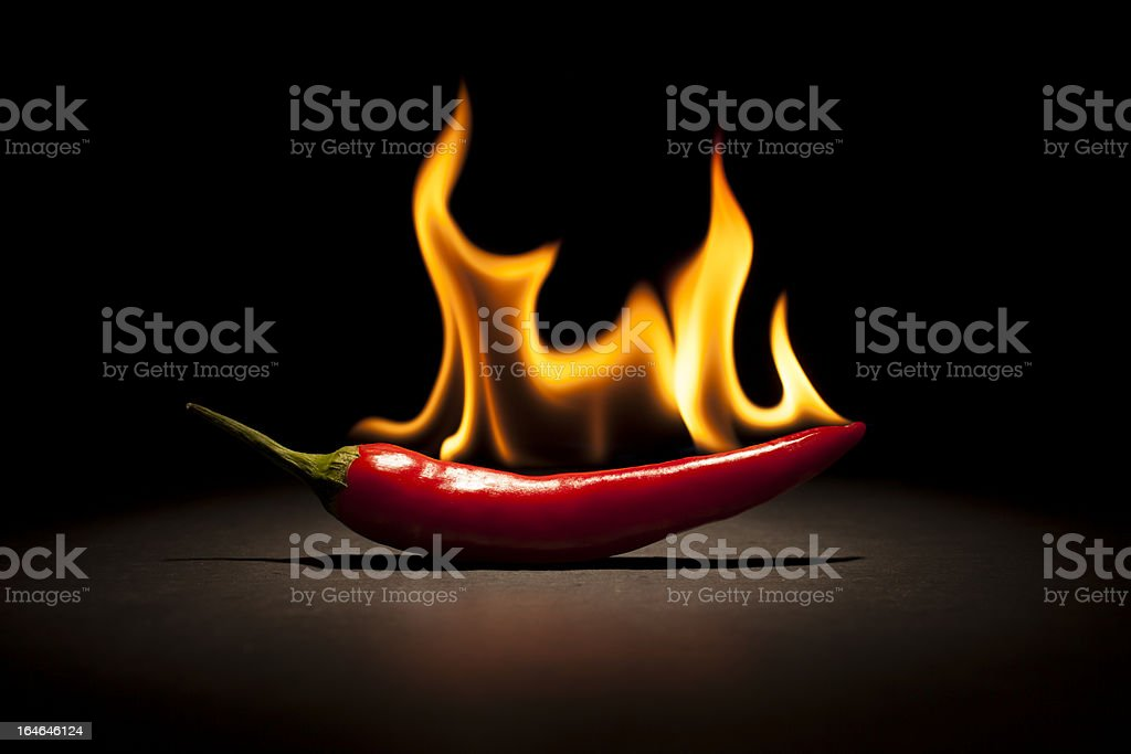 Burning Chili Pepper - Fire Flame stock photo