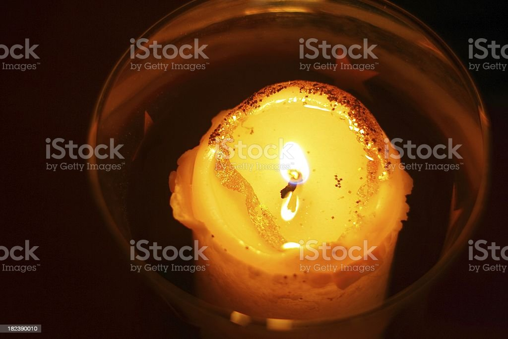 burning christmas candle stock photo