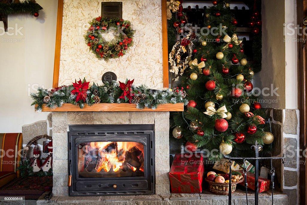 Burning christmas fireplace stock photo