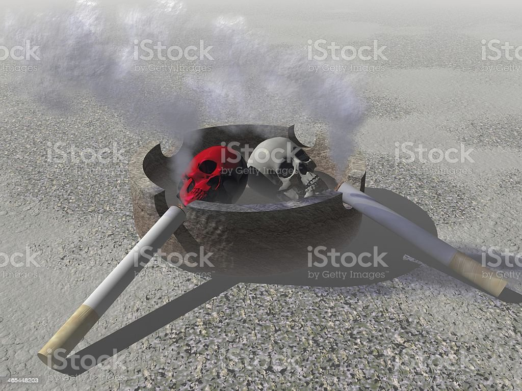 burning cigarette in an ashtray royalty-free stock photo