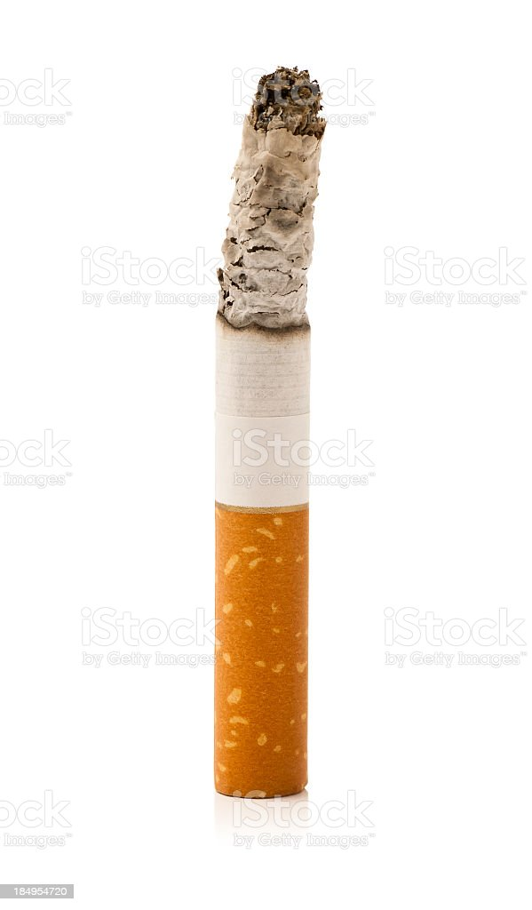 Burning cigarette isolated on white background royalty-free stock photo