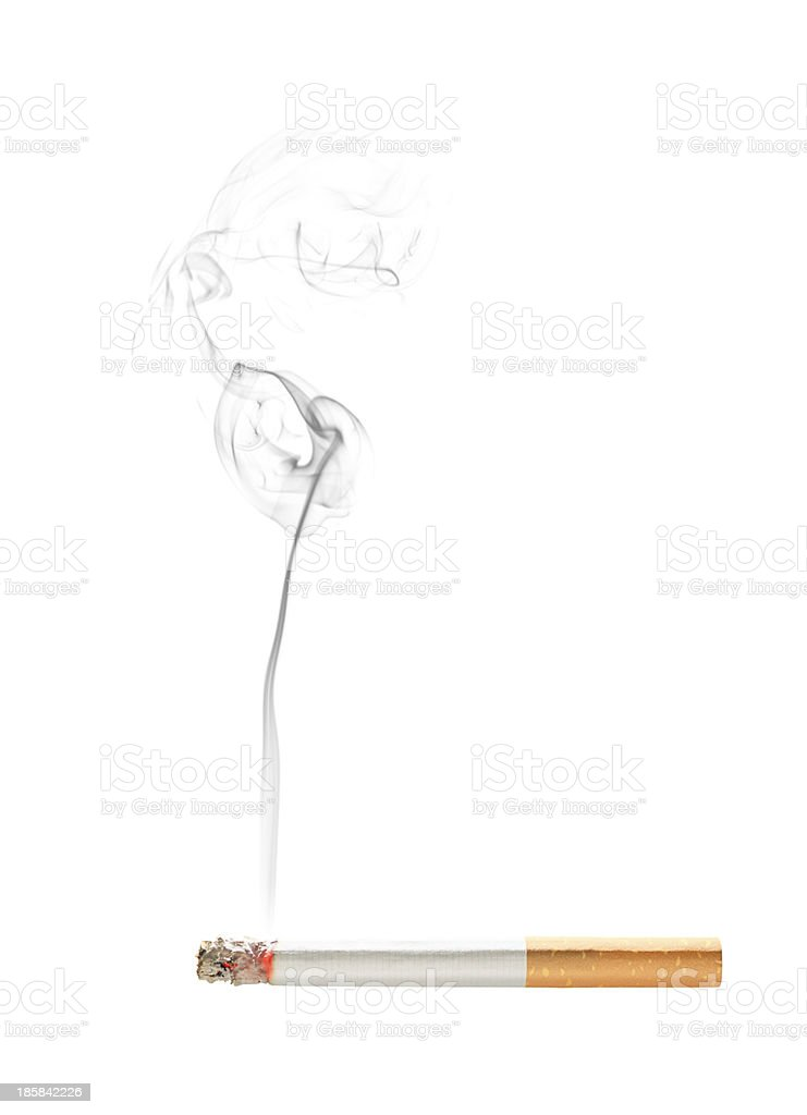 Burning cigarette with smoke isolated,Super size stock photo