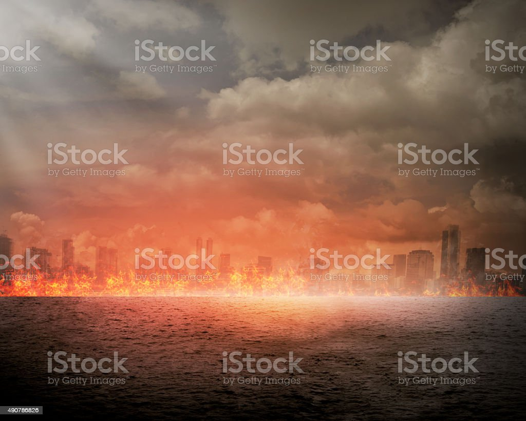 Burning city stock photo
