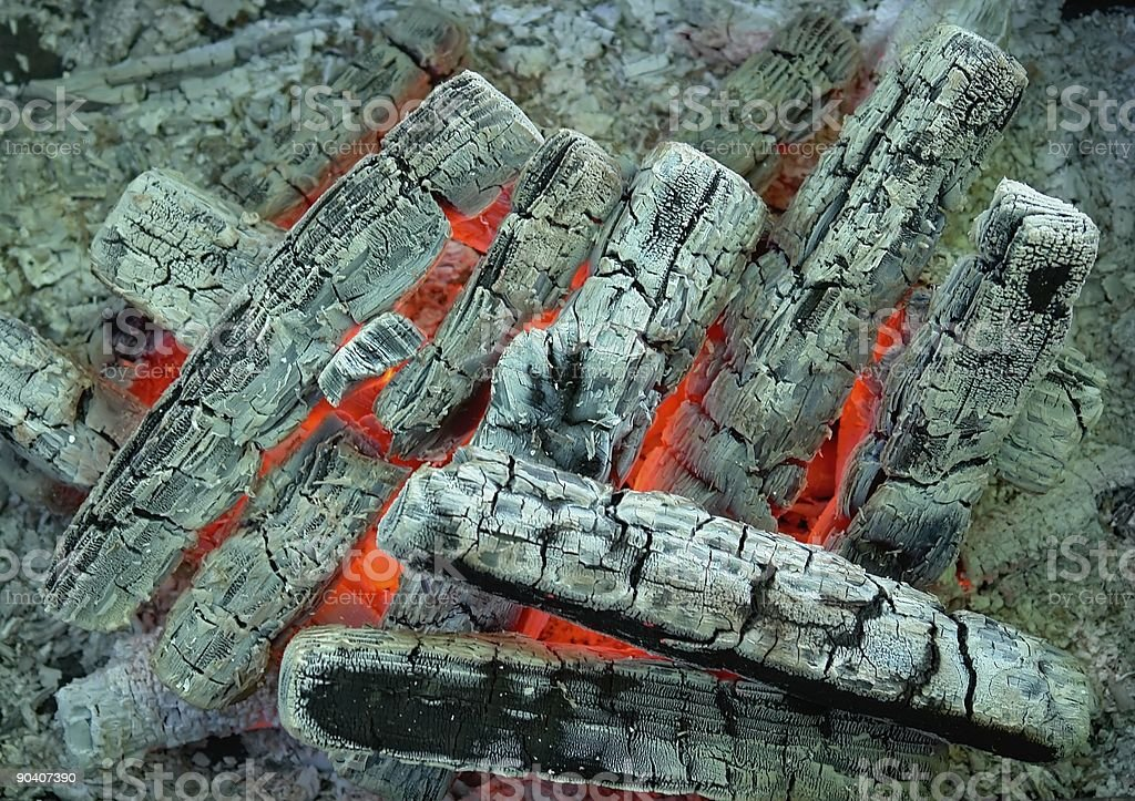 burning coal and wood stock photo