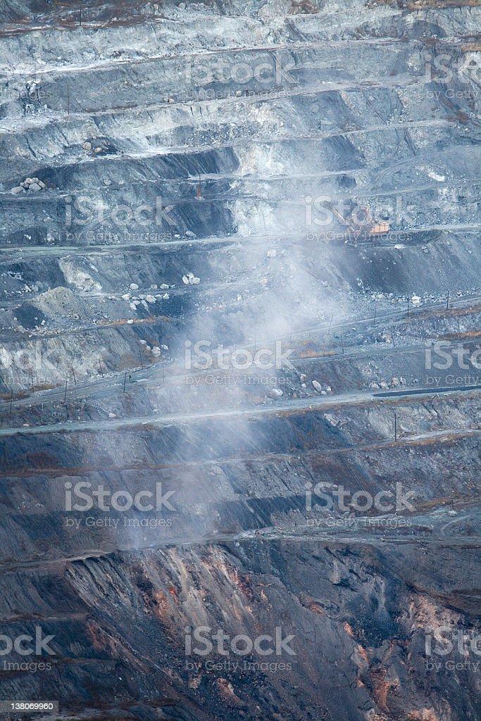 Burning coal in the mine stock photo