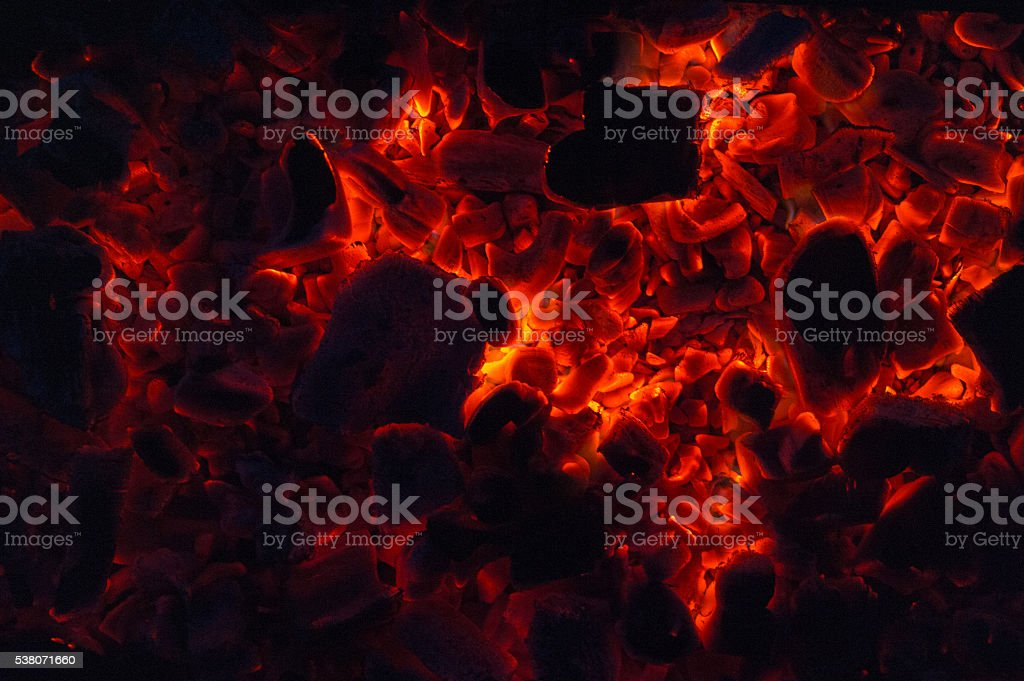 Burning coal stock photo