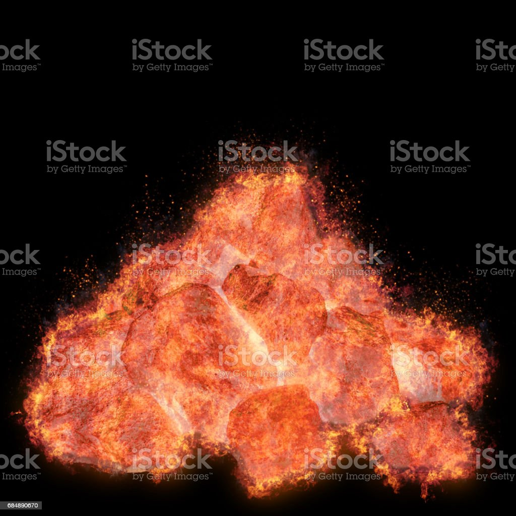 Burning coal stack, glowing isolated against the black background stock photo