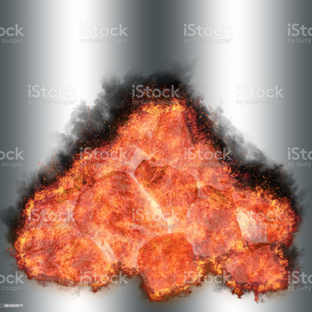 Burning coal stack, glowing isolated against the silver background stock photo