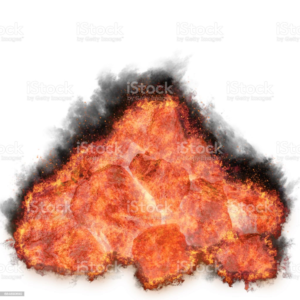 Burning coal stack, glowing isolated against the white background stock photo
