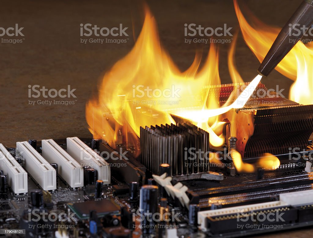 burning computer main board royalty-free stock photo