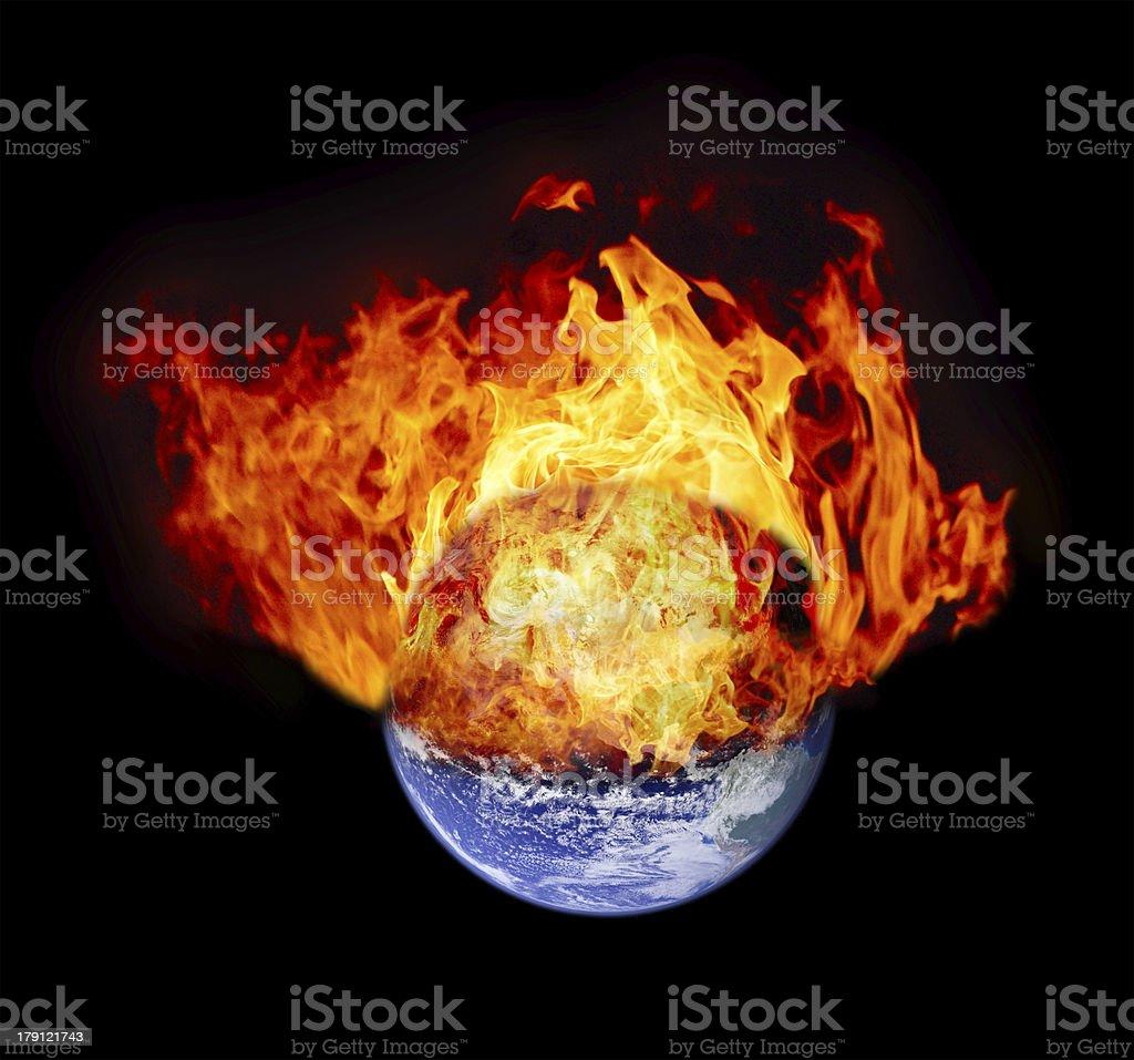 Burning earth globe royalty-free stock photo
