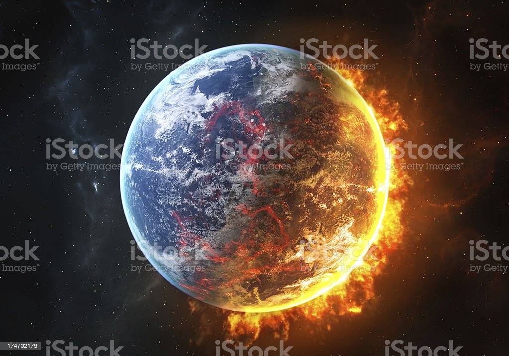 Burning Earth stock photo