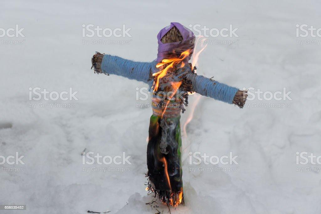 burning effigies of Carnival stock photo