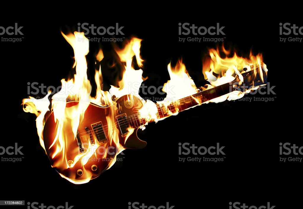 Burning Electric Guitar stock photo