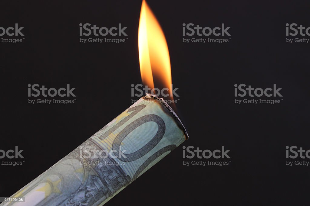 Burning Euro Money stock photo
