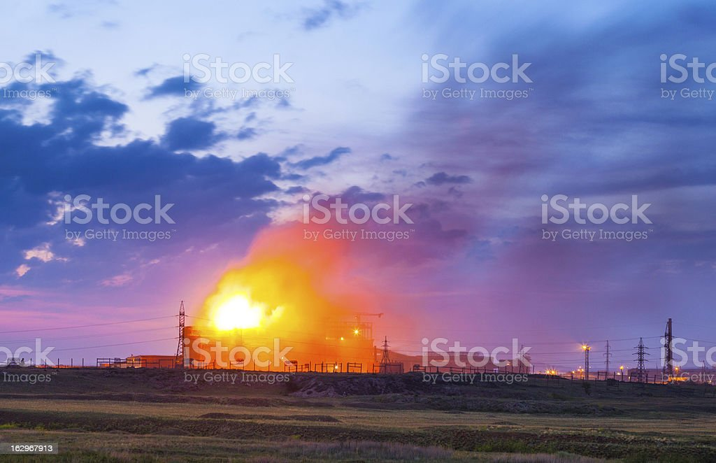 Burning factory royalty-free stock photo