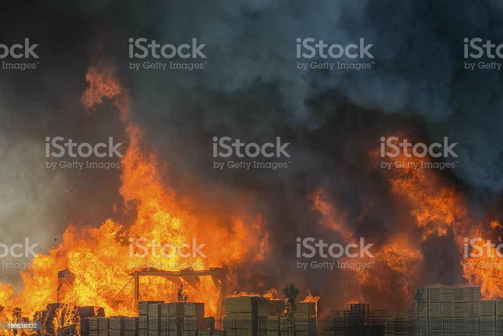 Burning factory stock photo