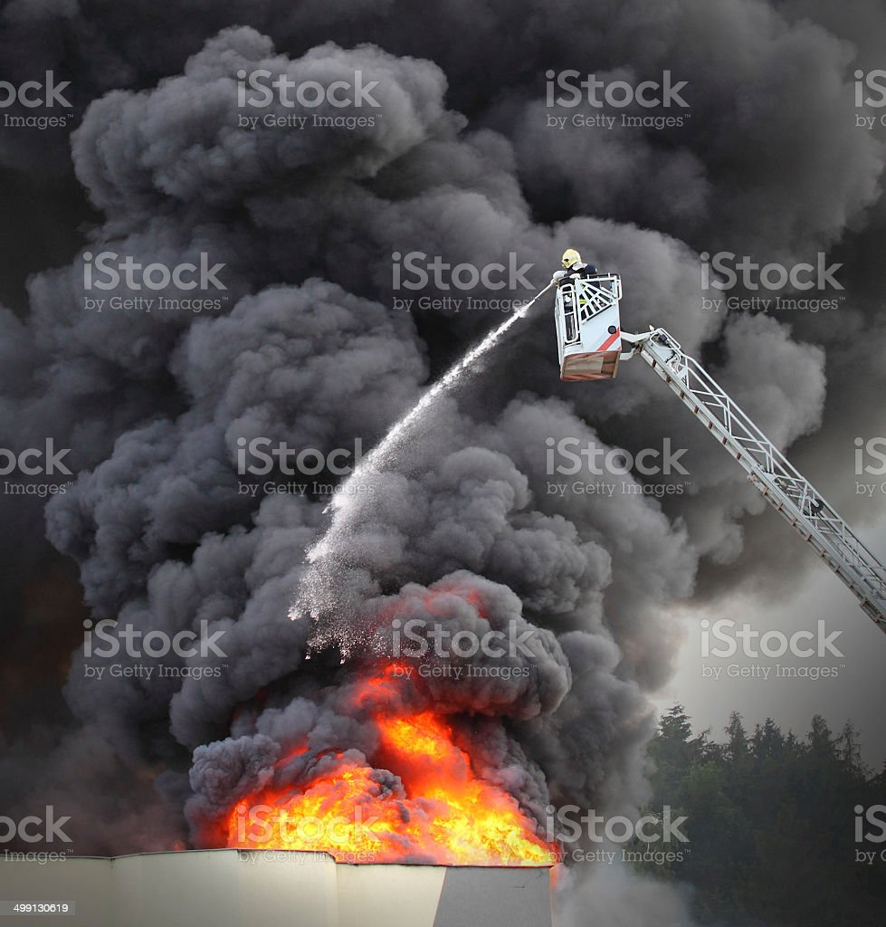 Burning factory. stock photo