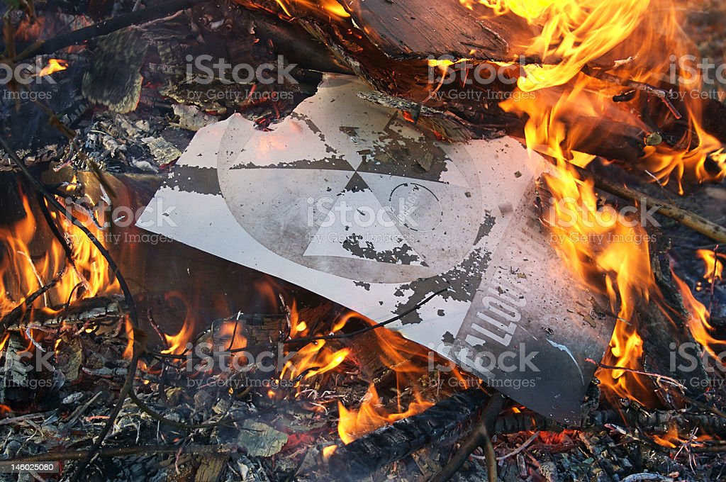 Burning Fallout Shelter Sign royalty-free stock photo
