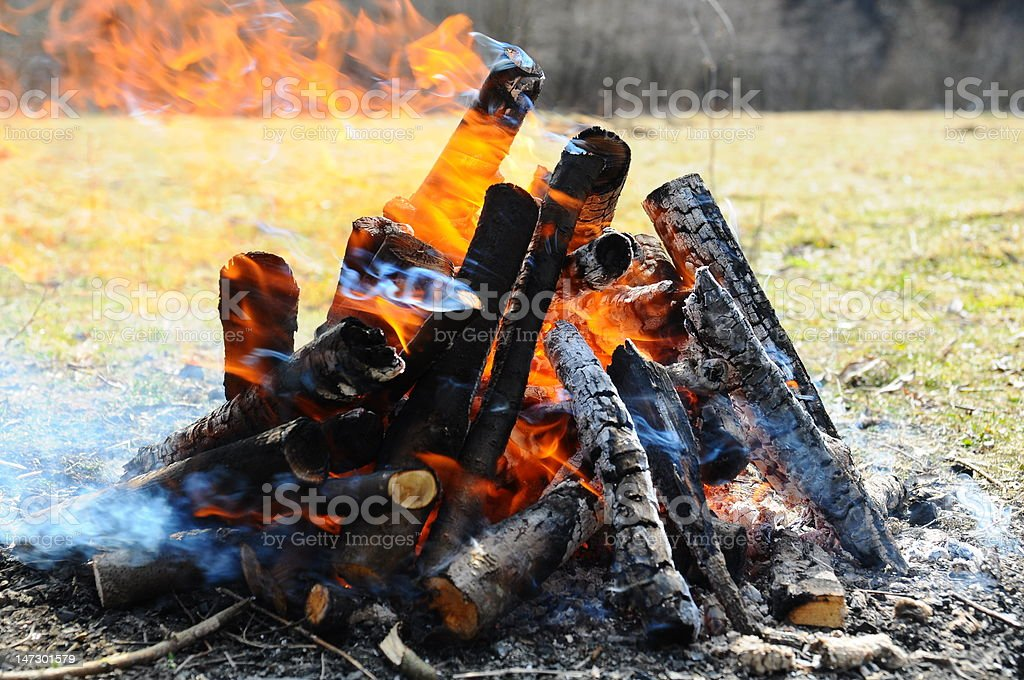 Burning fire and coal resulted from burned wood for barbecue royalty-free stock photo