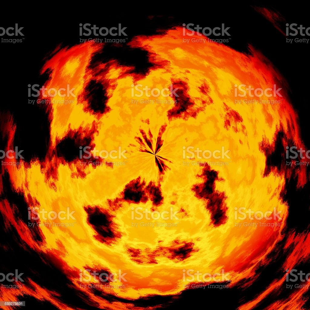 Burning fire ball generated texture stock photo