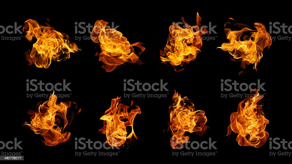 Burning fire collection stock photo
