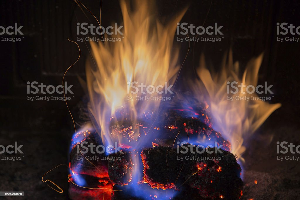 burning fire fireplace night royalty-free stock photo