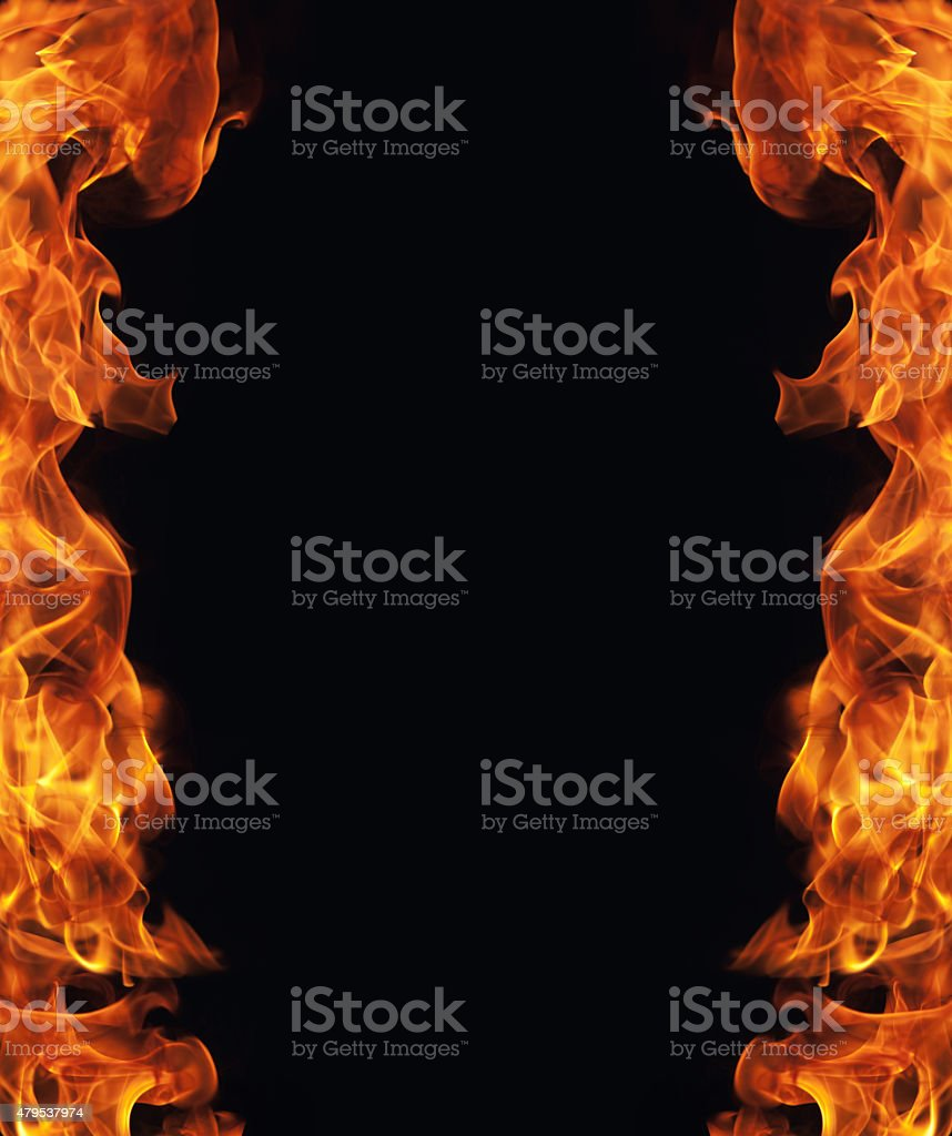 burning fire flame frame on black background stock photo
