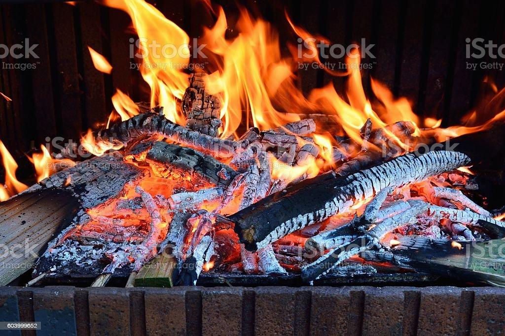 Burning fireplace background stock photo