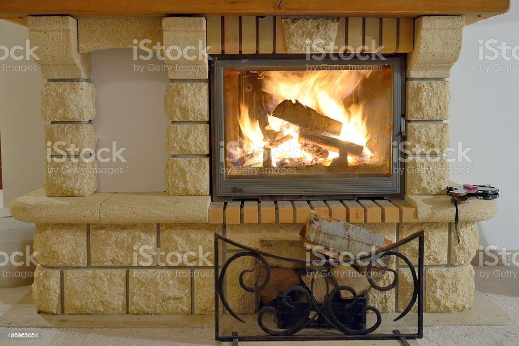 Burning Fireplace stock photo