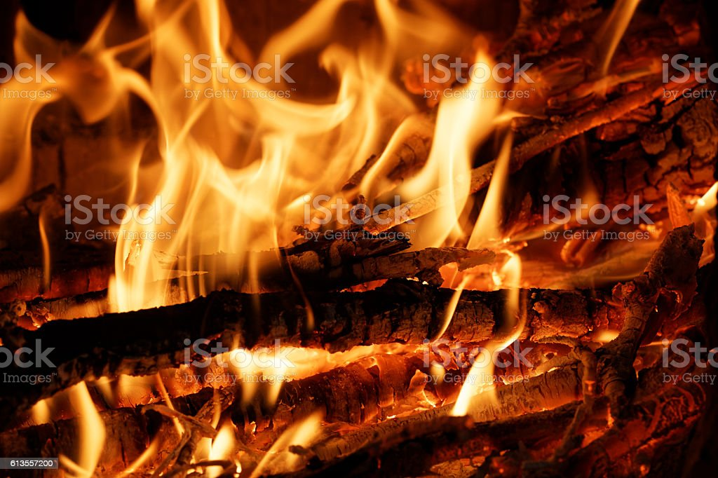 Burning firewood in the stove stock photo