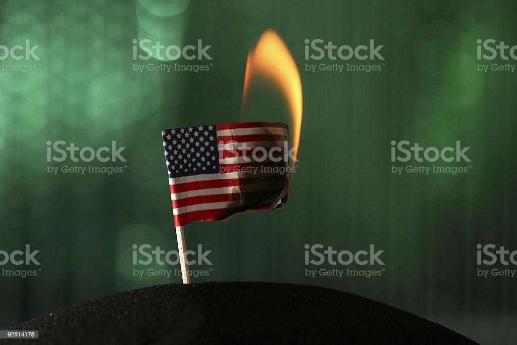 Burning Flag stock photo