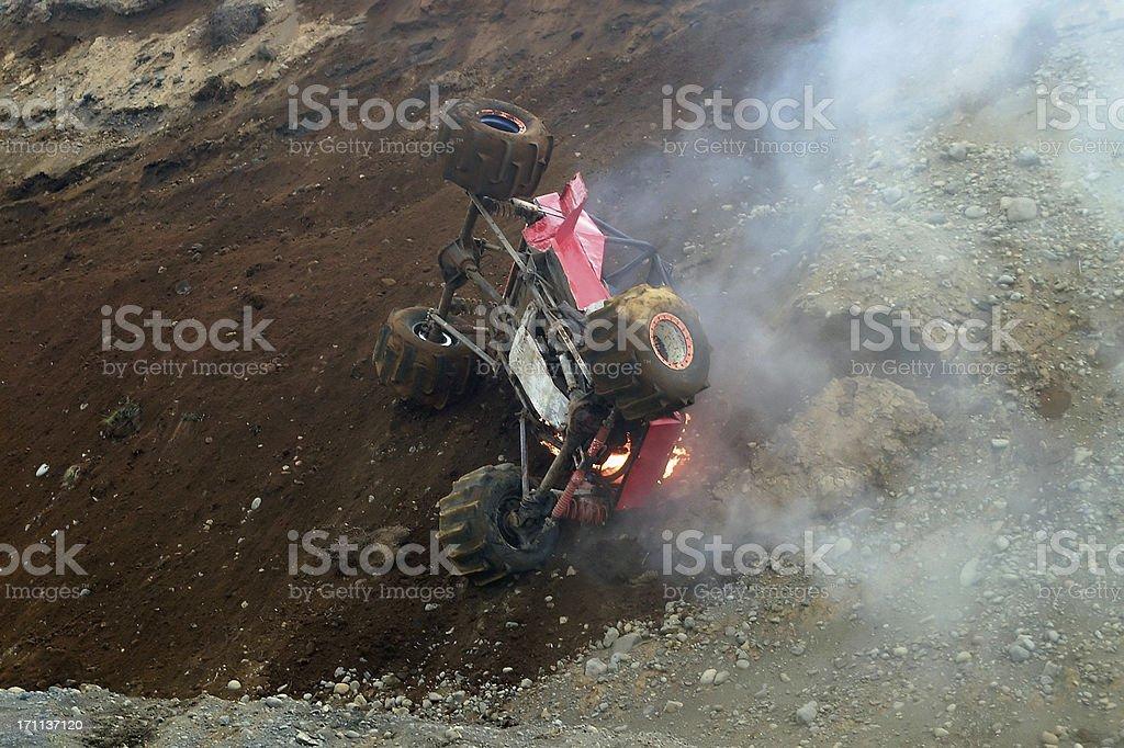 Burning formula Offroad rally car, Iceland royalty-free stock photo