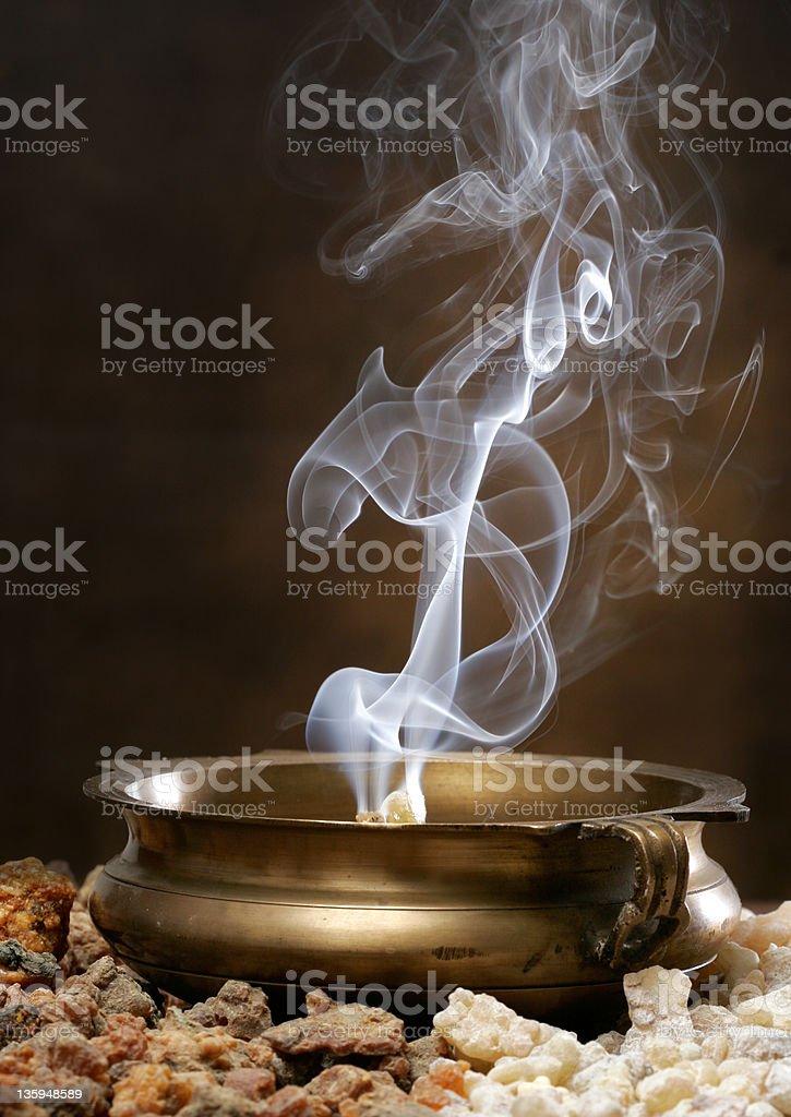 Burning Frankincense and Myhrr stock photo