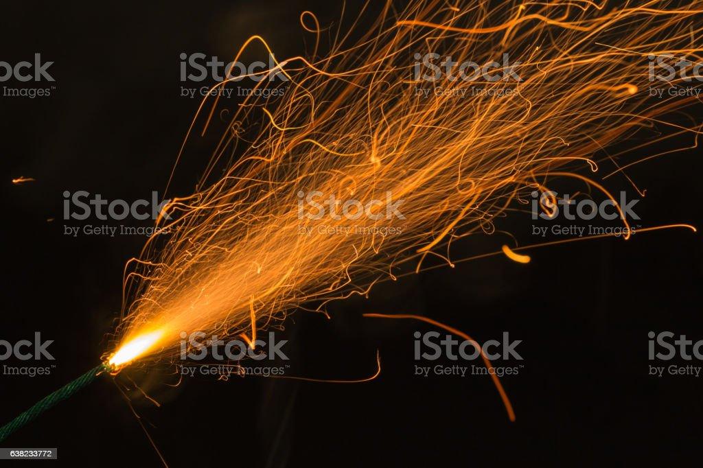 Burning fuse, dynamite fuse stock photo