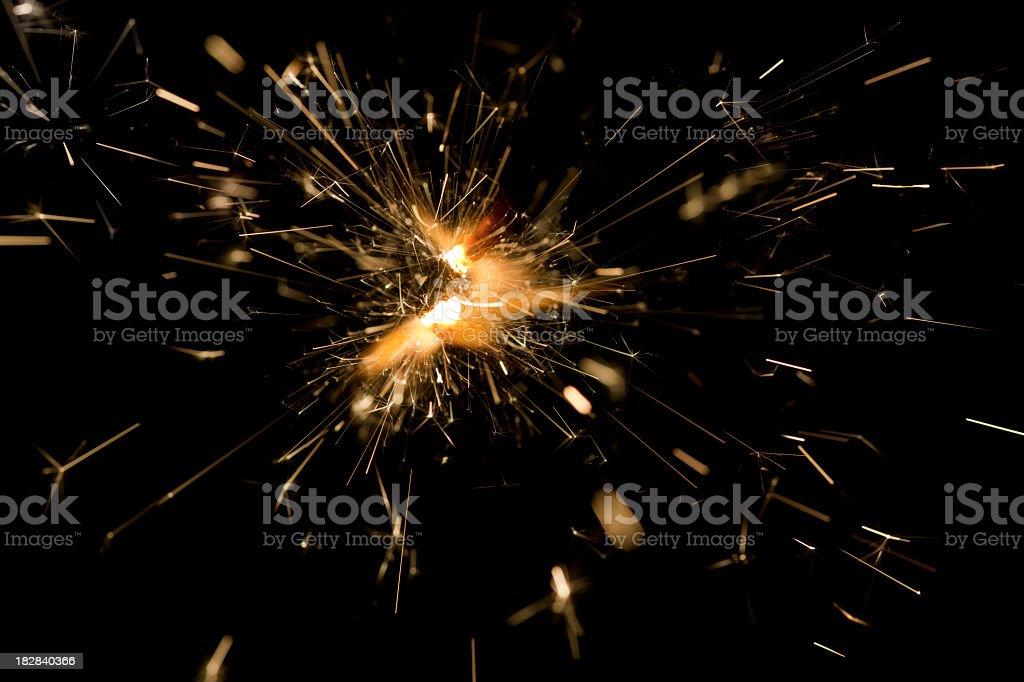 Burning fuse flames isolated on black royalty-free stock photo
